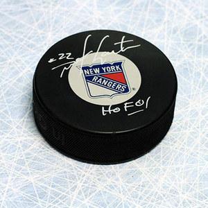 Mike Gartner New York Rangers Autographed Hockey Puck with HOF Inscription