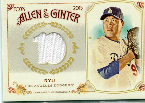 Photo of 2015 Topps Allen and Ginter Relics  Hyun-Jin Ryu  -- Dodgers post-season