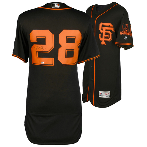 Photo of Buster Posey San Francisco Giants Autographed Majestic Authentic Black Jersey
