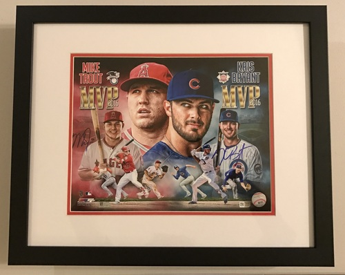 Photo of Mike Trout and Kris Bryant Dual Signed 2016 MVP Limited Edition Framed 11x14 Photo