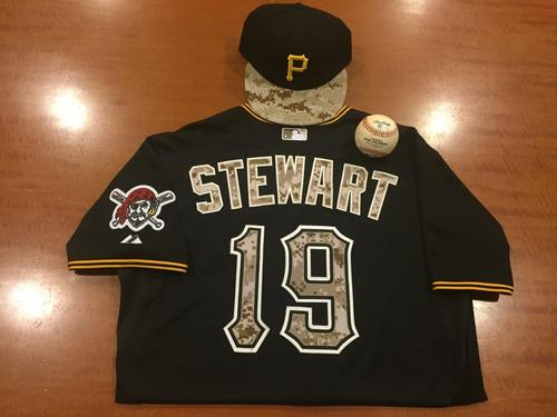 Photo of Chris Stewart Game-Used Memorial Day Jersey, Cap and Game-Used Baseball from Pirates vs. Indians on 7/5/2015 - Salazar to Stewart, Single