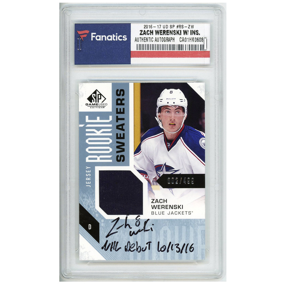Zack Werenski Columbus Blue Jackets Autographed 2016-17 Upper Deck SP Game Used #RS-ZW Card Containing a Piece of Player Worn Material- Limited Edition of 499