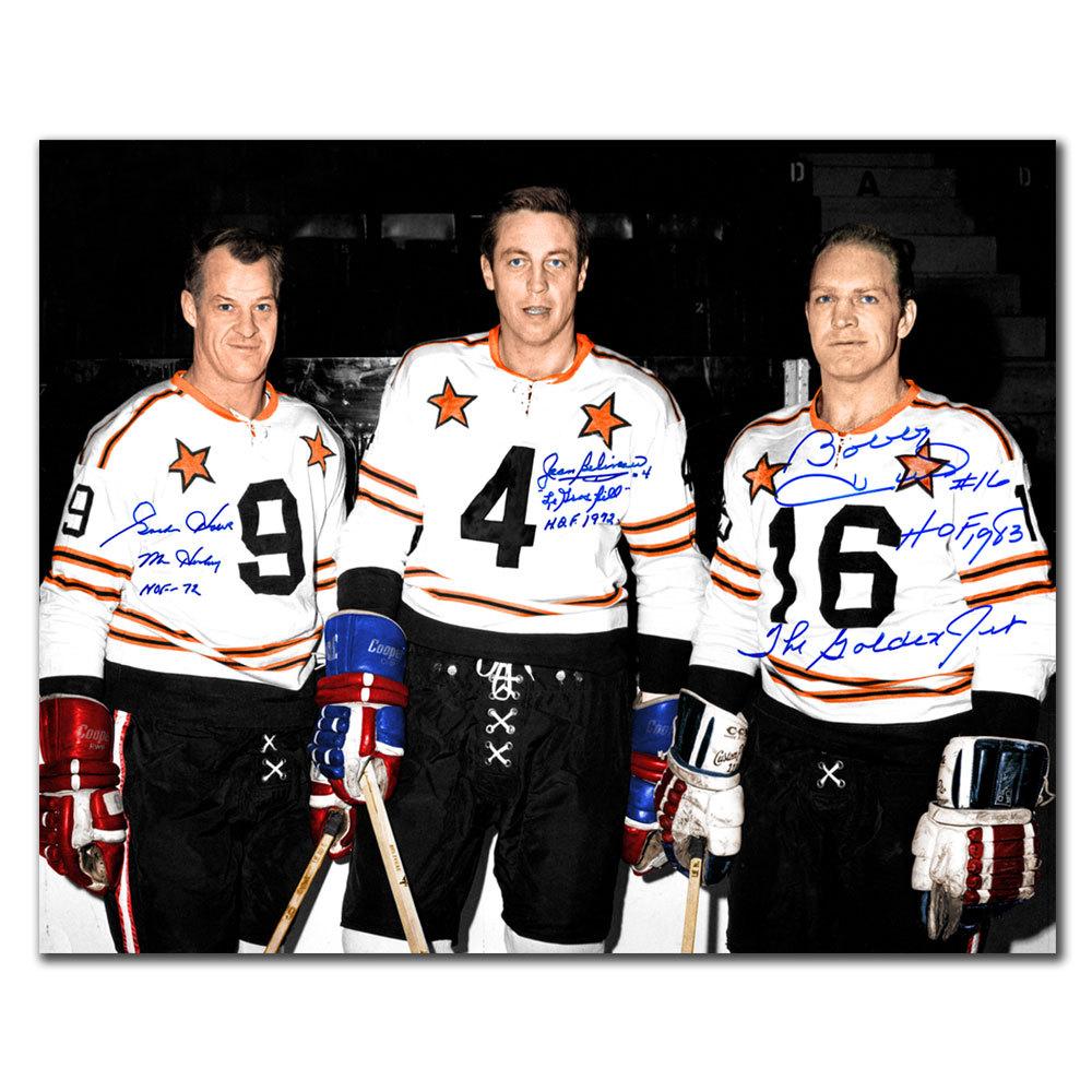 Gordie Howe, Jean Beliveau & Bobby Hull NHL All-Star Autographed 16x20 /18