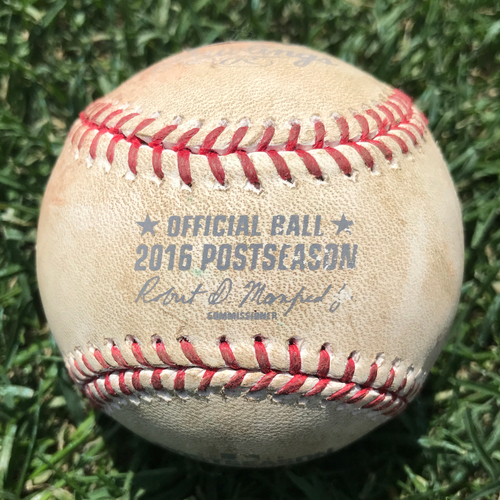 Photo of San Francisco Giants - Game-Used Baseball - NLDS Game 4 v Cubs - B4 Joe Panik single off of John Lackey. Also Gregor Blanco, Pitch in the Dirt