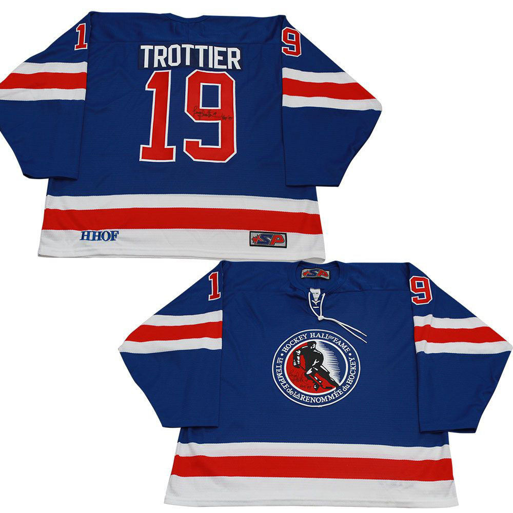 Bryan Trottier Autographed (older) Hall of Fame Jersey - Signed Twice