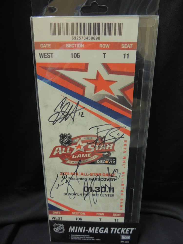 2011 All-Star Game Mini Mega Ticket Signed by Eric Staal #12, Cam Ward #30, Jeff Skinner #53 and Jamie McBain #4