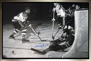 Johnny Bower Signed 20x29 Canvas Framed Leafs Reaching For Puck