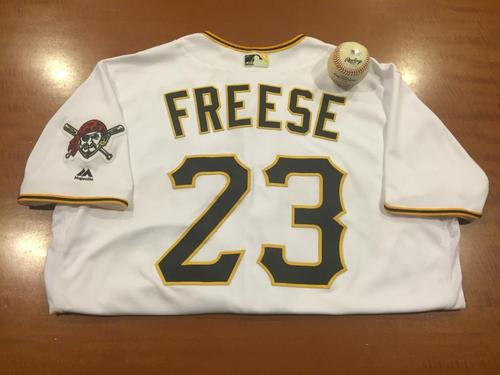 Photo of David Freese Game-Used Home Jersey and Game-Used Baseball from Pirates vs. Cubs on 5/2/2016 - Hammel to Freese, Single