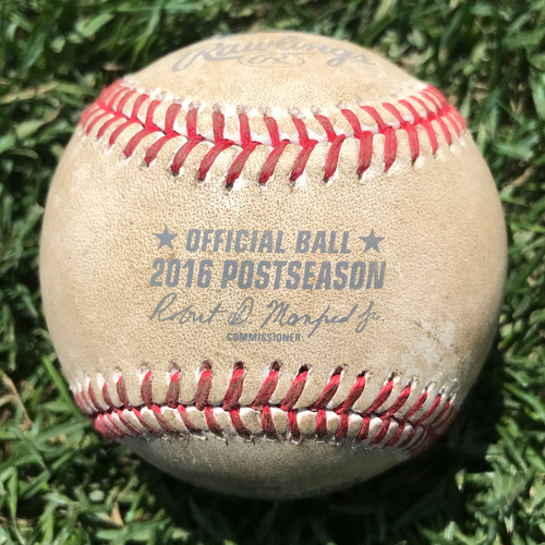Photo of San Francisco Giants - Game-Used Baseball - NLDS Game 4 v Cubs - B5 Brandon Crawford double off Justin Grimm, Hunter Pence to 3rd Base