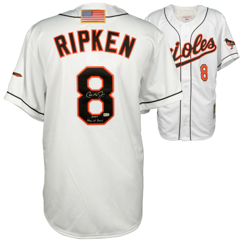 Photo of Cal Ripken Jr. Baltimore Orioles Autographed White 2001 Mitchell & Ness Authentic Jersey with HOF Inscription