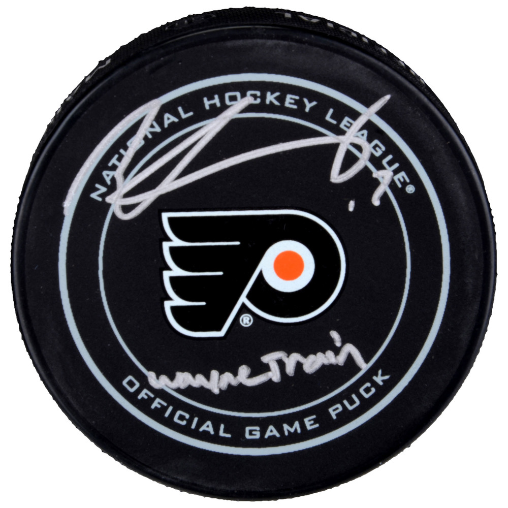 Wayne Simmonds Philadelphia Flyers Autographed Official Game Puck with Wayne Train Inscription
