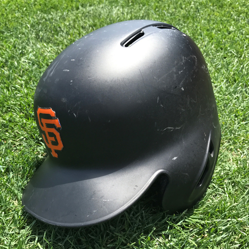 Photo of San Francisco Giants - Game-Used Postseason Helmet - WC & NLDS - Eduardo Nunez