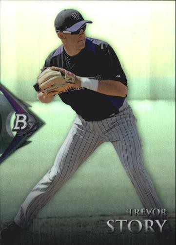 Photo of 2014 Bowman Platinum Chrome Prospects Refractors Trevor Story -- Rockies post-season