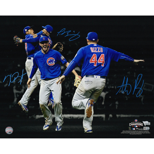 "Photo of Kris Bryant, Anthony Rizzo, Javier Baez and Addison Russell Chicago Cubs 2016 MLB W.S. Champions Autographed 16"" x 20"" Photo. #1 of 500"