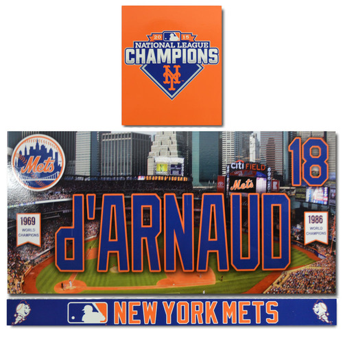 Photo of Travis d'Arnaud #18 - Game Used Locker Nameplate Set - 2016 Season