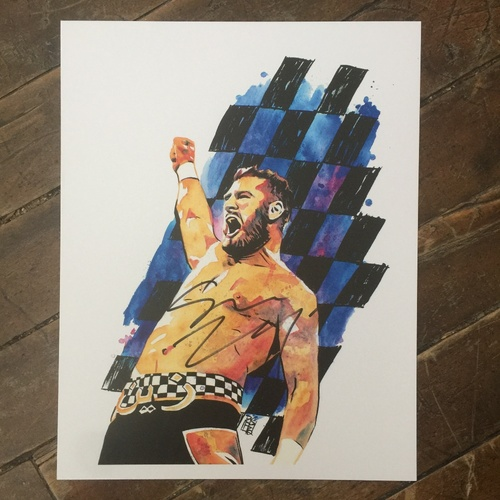Photo of Sami Zayn SIGNED 11 x 14 Rob Schamberger Print