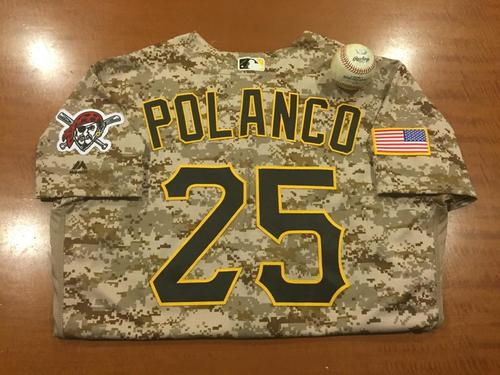 Photo of Gregory Polanco Game-Used Camo Jersey and Game-Used Baseball from Pirates vs. Tigers on 4/14/2016 - Ryan to Polanco, Single