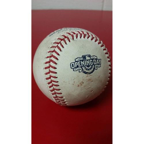 Photo of Game-Used Baseball: Opening Day - Trea Turner Stolen Base