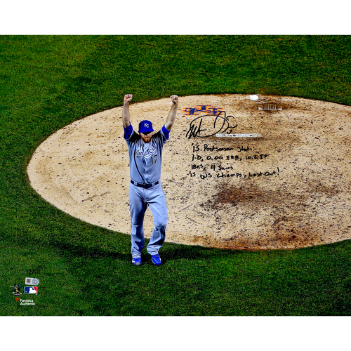 "Photo of Wade Davis Kansas City Royals 2015 MLB World Series Champions Autographed 16"" x 20"" 2015 World Series Photograph with Multiple Inscriptions. #50 of L.E. of 50"