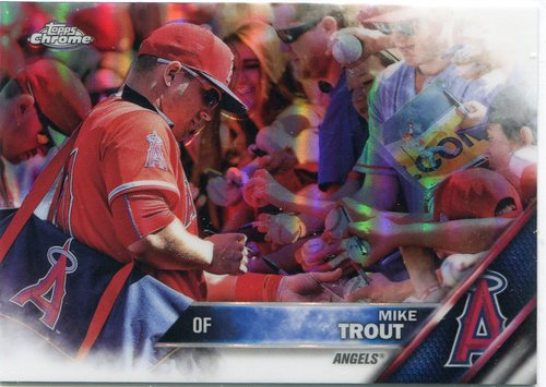 Photo of 2016 Topps Chrome #1B Mike Trout short print refractor with fans