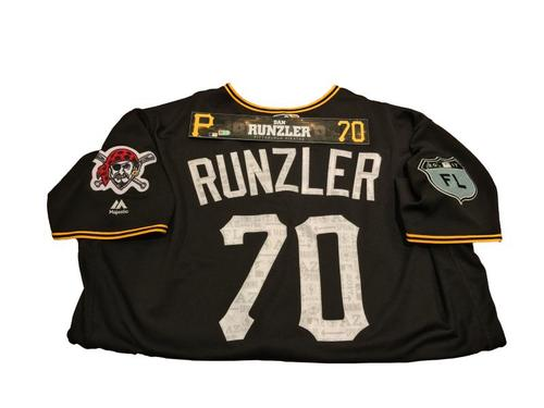 Photo of Dan Runzler Team-Issued Spring Training Jersey and Game-Used Locker Name Plate