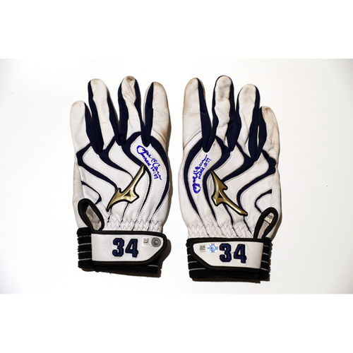 Photo of Tigers Hurricane Relief Auction: James McCann Autographed Team-Issued Batting Gloves - White & Navy