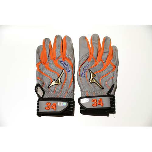 Photo of Tigers Hurricane Relief Auction: James McCann Autographed Team-Issued Batting Gloves - Gray & Orange