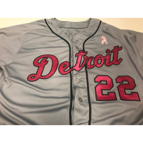 Photo of Game-Used Gene Lamont Mother's Day Jersey