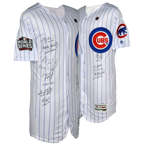 Photo of Chicago Cubs 2016 MLB World Series Champions Autographed Majestic World Series White Authentic Jersey with 9 Signatures and Multiple Inscriptions - #1 in a Limited Edition of 21.