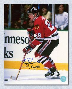 Steve Larmer Chicago Blackhawks Autographed Playmaker 8x10 Photo W/ Roy 83 Note
