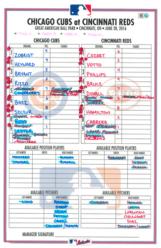 Photo of Game-Used Lineup Card -- Zobrist 10th HR, Baez Hits Game-Winning Grand Slam in Top 15th, Lester 7.2 IP, 1 ER -- Cubs at Reds -- 6/28/16