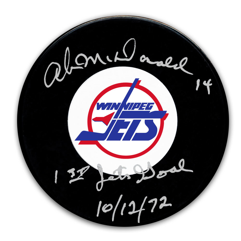 Ab McDonald Winnipeg Jets 1st Jets Goal 10.12.72 Autographed Puck