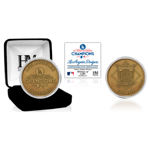 Serial #1! Los Angeles Dodgers 2017 NL West Division Champion Antique Bronze Mint Coin