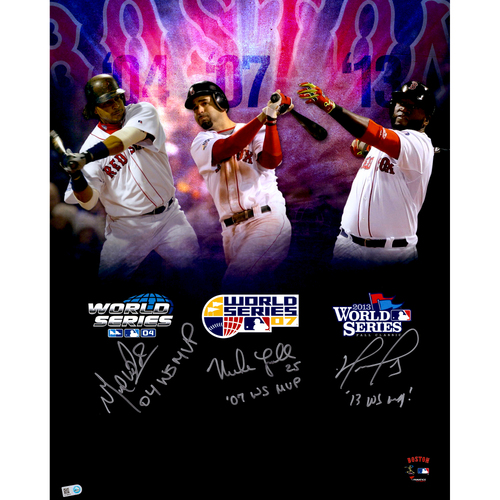 "Photo of Mike Lowell, Manny Ramirez and David Ortiz Boston Red Sox World Series MVP's Autographed 16"" x 20"" In Focus Photograph with MVP Inscriptions. #12 of L.E. of 12"