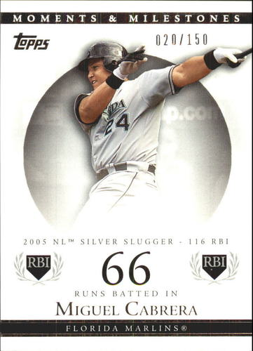 Photo of 2007 Topps Moments and Milestones #110-66 Miguel Cabrera/RBI 66