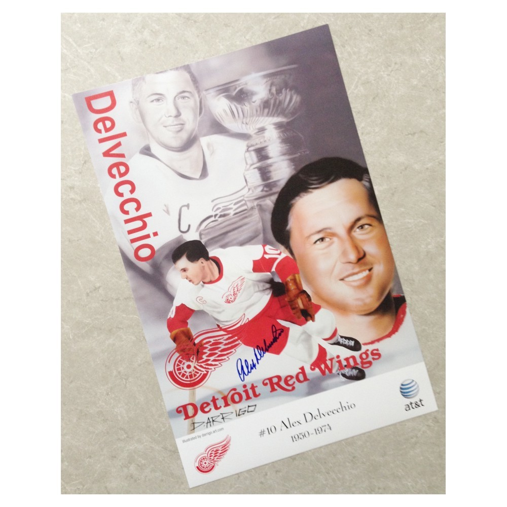 Alex Delvecchio Autographed Detroit Red Wings Poster