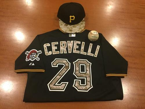 Photo of Francisco Cervelli Game-Used Memorial Day Camo Jersey, Cap and Game-Used Baseball from Pirates vs. Mariners on 7/26/2016 - Hernandez to Cervelli, Single