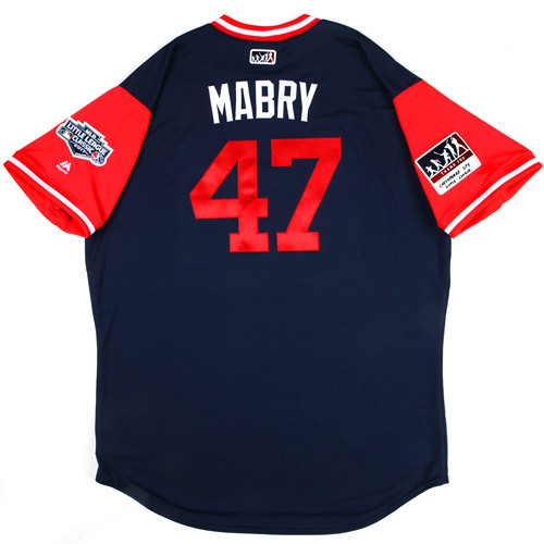 "Photo of St. Louis Cardinals Game-Used Little League Classic Jersey -  John ""Mabry"" Mabry #47"