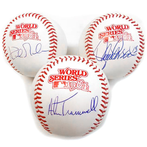 Photo of Detroit Tigers Lance Parrish, Alan Trammell and Kirk Gibson Autographed 1984 World Series Baseball Set