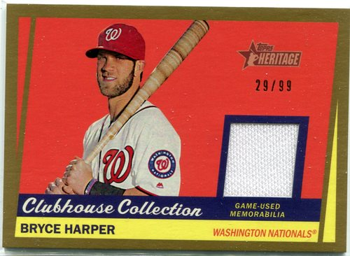 Photo of 2016 Topps Heritage Clubhouse Collection Relics Gold game worn jersey Bryce Harper 29/99