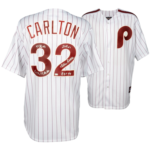 Photo of Steve Carlton Philadelphia Phillies Autographed Majestic Replica Jersey with Multiple Inscriptions - #32 of a Limited Edition of 32