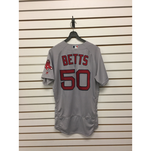 Photo of Mookie Betts Team-Issued August 21, 2017 Road Jersey