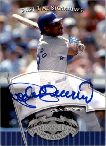 Photo of 2005 UD Past Time Pennants Signatures Silver #PG Pedro Guerrero T4