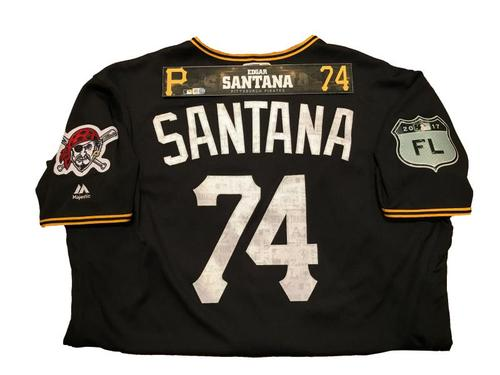Photo of Edgar Santana Game-Used Spring Training Jersey and Locker Name Plate