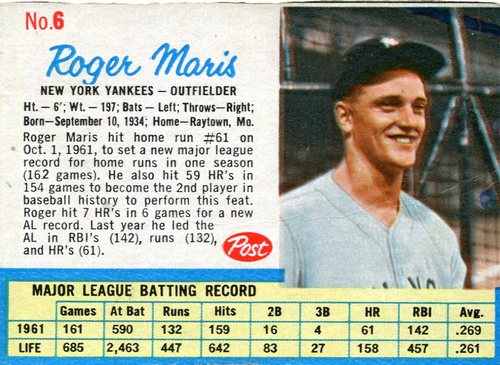 Photo of 1962 Post #6A Roger Maris -- Slight tape residue on back