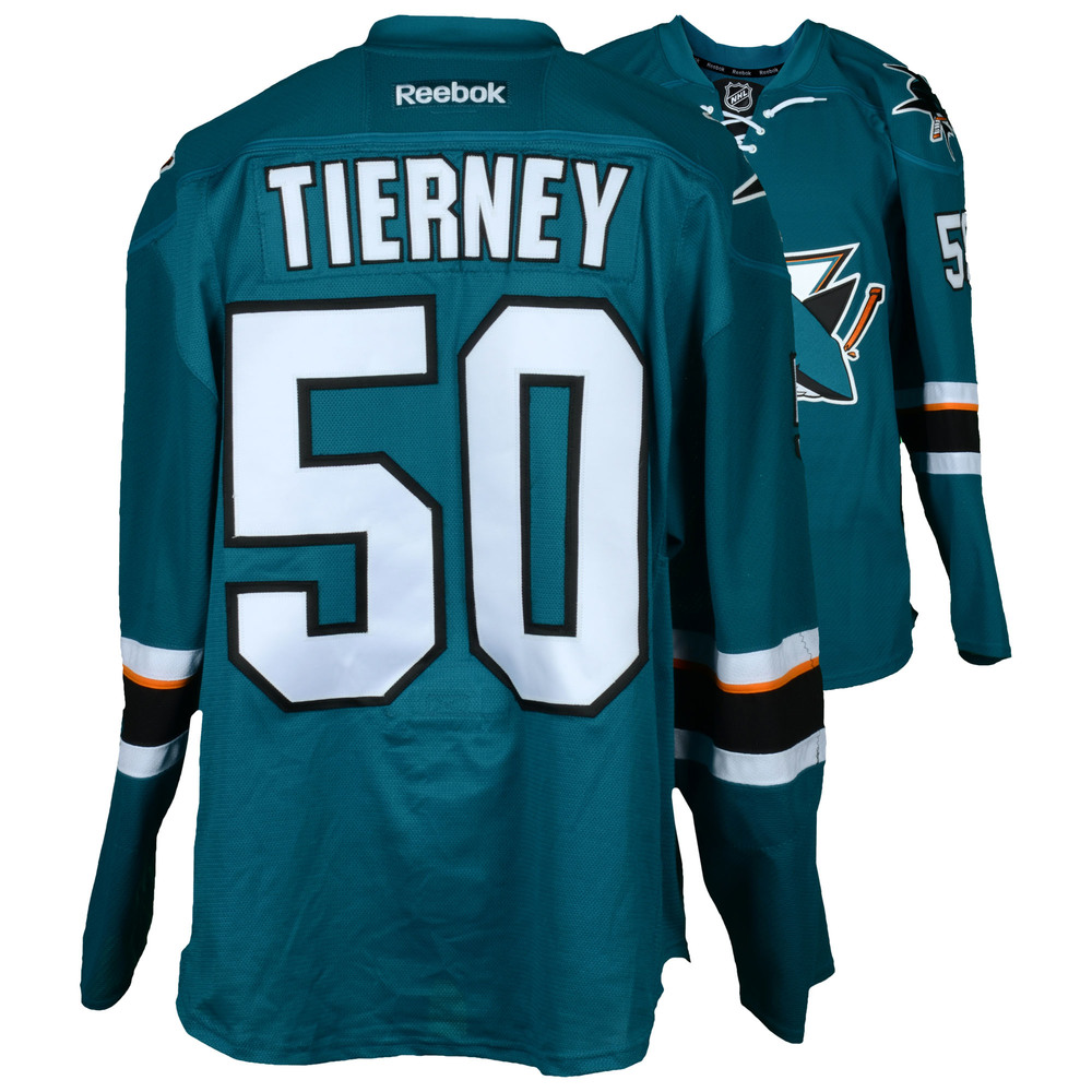Chris Tierney San Jose Sharks Game-Used Teal #50 Jersey used vs. Vancouver Canucks on April 4, 2017 - Size 56