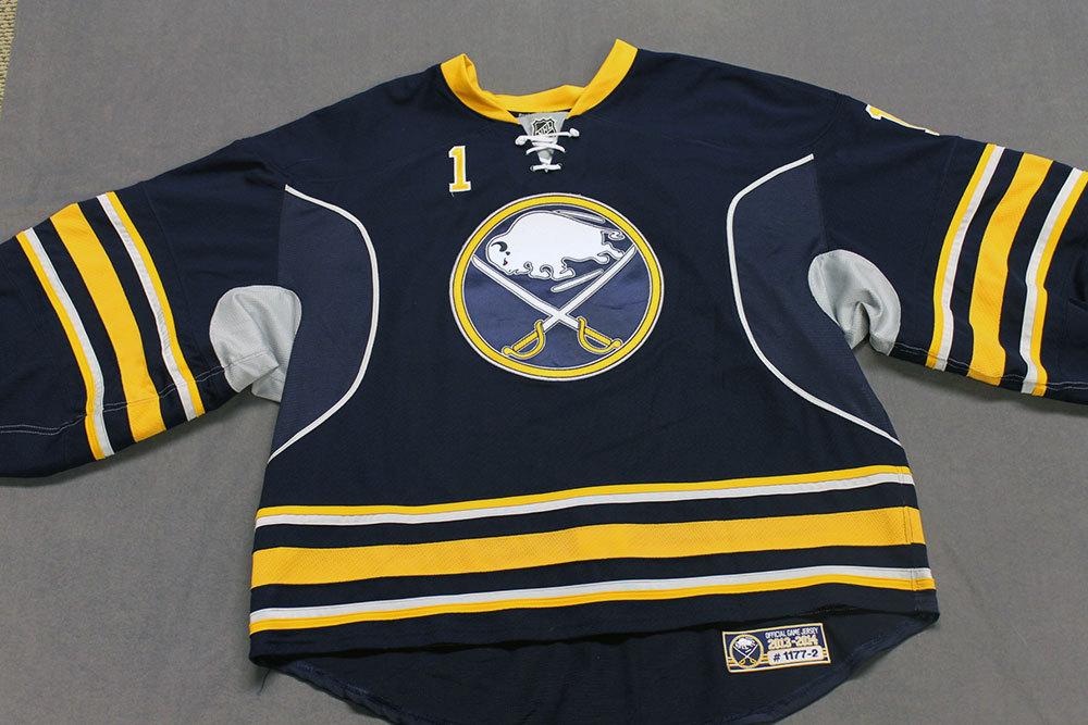 Jhonas EnrothGame Worn Buffalo Sabres Home Jersey.  Serial: 1177-2. Set 2 - Size 58GC.  2013-14 season.