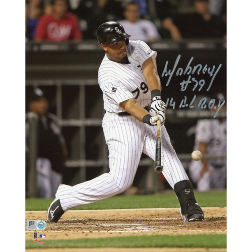 "Photo of Jose Abreu Chicago White Sox Autographed 8"" x 10"" Hitting Ball Photograph with 14 ROY Inscription"