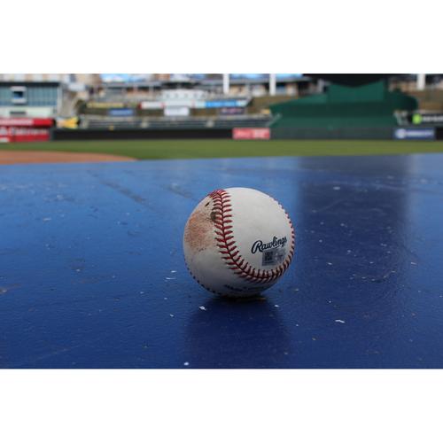 Photo of Game-Used Baseball: Orlando DBL, Gordon SGL - July 27, 2016 (LAA at KC)