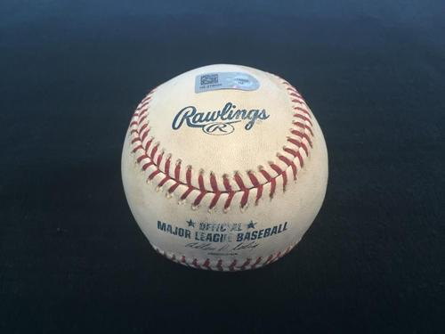 Photo of Game-Used Baseball from Pirates vs. Cubs on 6/10/2014 - Sadler to Valbuena, Double - Gregory Polanco's MLB Debut